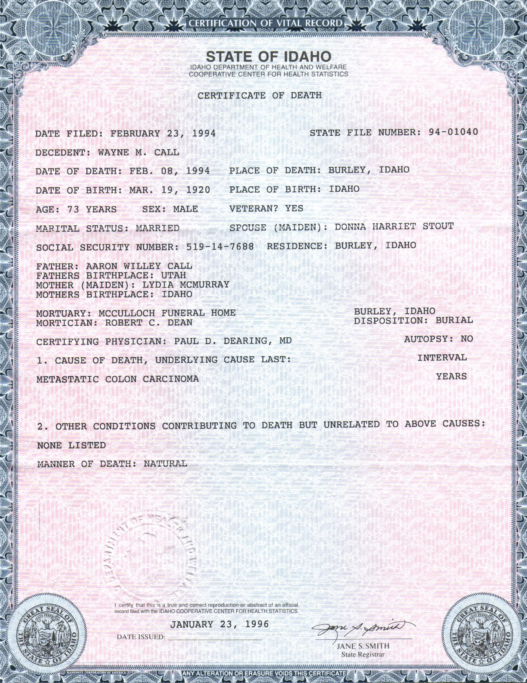 Gooding county id death certificate 1betcityfo Choice Image